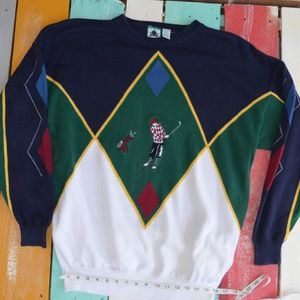 Vintage Izod Dad golf sweater colorblock argyle